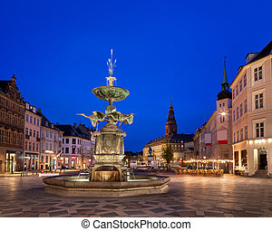Amagertorv Square and Stork Fountain in the Old Town of...