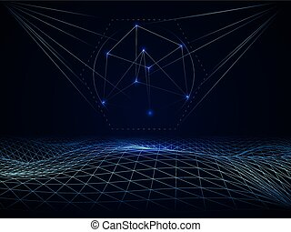 Abstract cyberspace grid waves - Abstract vector cyberspace...