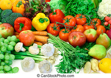 Fresh Vegetables and Fruits - This is a close-up of...