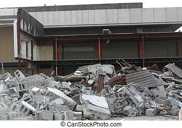 Building Remains At Demolition Site - Pile of concrete in...