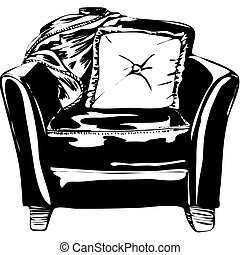 Leather Chair isolated on a white background.