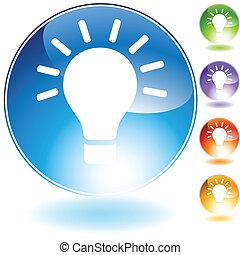 lumière, ampoule, icône