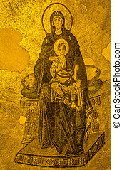 Ancient Apse mosaic of the Theotokos Virgin Mother and Child...