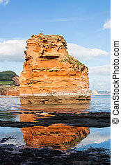 Ladram Bay Devon England - Dramtic red Jurassic cliffs and...