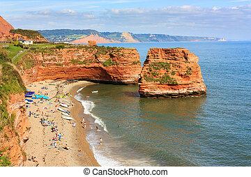 Ladram Bay Devon England - Dramtic red Jurassic cliffs and...
