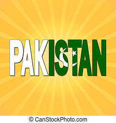 Pakistan flag text with sunburst illustration