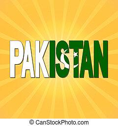 Pakistan flag text with sunburst illustration