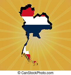 Thailand sunburst map with flag illustration