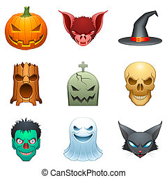 Vector Halloween characters - Set of 9 cartoon Halloween...