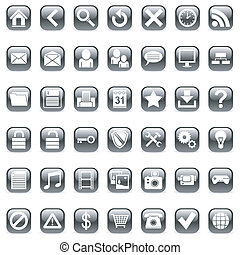 Web icons - Set of 42 black icons for Web