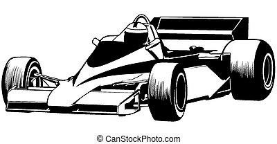 Racing Car - Formula One - Driver And Racing Car...