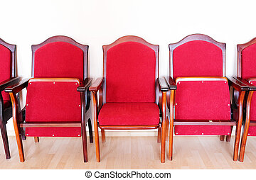 red seats in a row