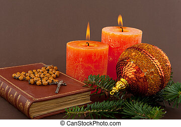 Christmas with bible - christmas candle and bible with...