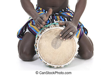 african person with djembe on white background, traditional...