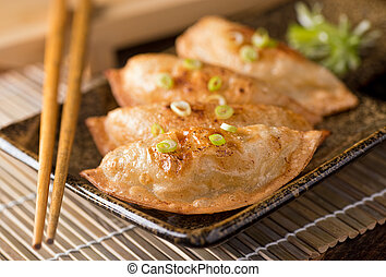 Pot Stickers - A plate of delicious asian pot stickers with...
