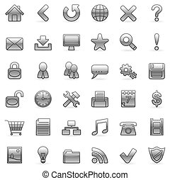 Web icons - Set of 36 grey icons for Web