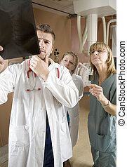 A Patient with doctor radiologist in a hospital