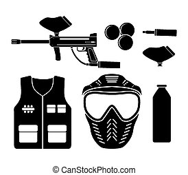 paintball equipment - pictogram - suitable for illustrations
