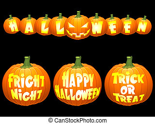 Halloween pumpkin concepts - Shiny vector halloween...