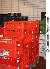 storage crates - Huge stack of red storage crates, factory...
