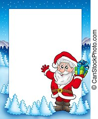 Frame with Santa and Christmas gift - color illustration