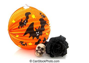 Halloween lantern and black rose - Orange Halloween lantern...