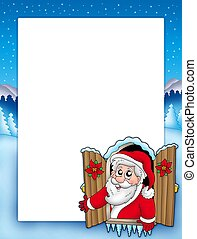Christmas frame with Santa in window - color illustration.