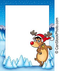 Christmas frame with cute reindeer - color illustration.