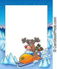 Frame with reindeer riding scooter
