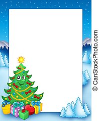 Christmas frame with tree 1 - color illustration
