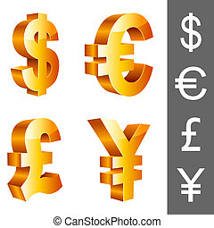 Vector currency symbols. - Golden currency symbols, isolated...
