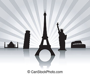 Background with landmarks - Background with landmarks, rays...