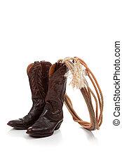 marrón, cuero, vaquero, botas, blanco