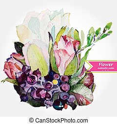 Abstract floral watercolor design with stylized violet...
