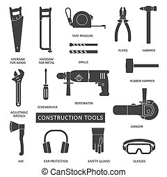 Construction tools vector icons set.