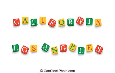 Words California Los Angeles with colorful blocks isolated...