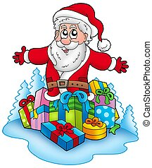 Happy Santa Claus with pile of gifts