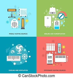 Heatingand conditioning icons set - Heating ventilation and...
