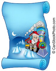 bleu, parchemin, Santa, train