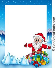 Frame with Santa and pile of gifts