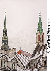 Rigan Steeples - The steeples of St Peters cathedral and St...