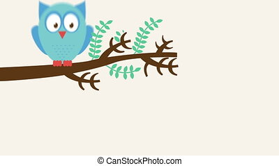 Owl animation - Owl on branch, Video animation, HD 1080