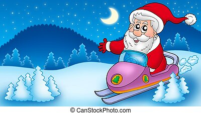 Landscape with Santa Claus on scooter