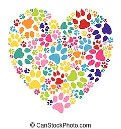 Heart paw print - Illustration of heart paw print on a white...