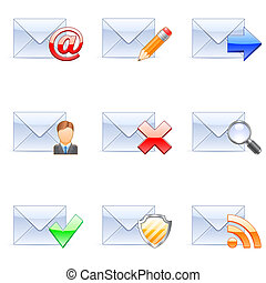 E-mail icons. - Set of nine coloured e-mail icons.