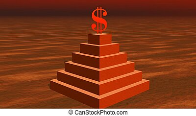Red dollar on a pyramid in desert - Red dollar on the top of...
