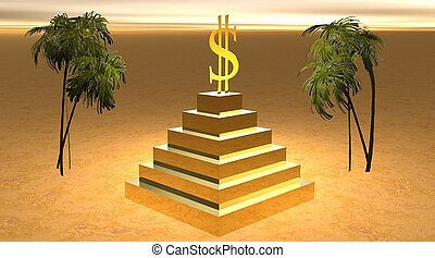 Yellow dollar on a pyramid in desert surrounded by two palm...