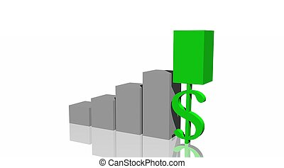 Green progress bar upon a dollar in histogram with white...