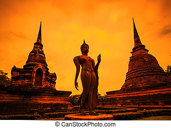 Silhouettes Sukhothai historical park, the old town of...