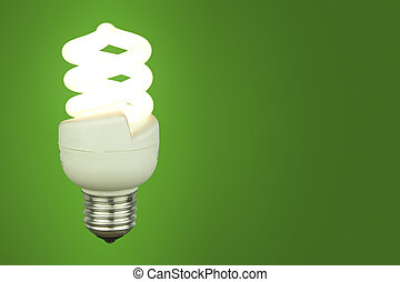 Low energy light bulb glowing